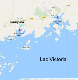 Napoleon Bay et Murchison Bay (Lac Victoria) © Google maps